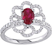 14K 1.05 ct Oval Ruby & 5/8 cttw Diamond FlowerRing - J377842