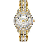 Bulova Womens Goldtone Swarovski Crystal Subdial Watch - J378542