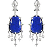 Judith Ripka Sterling Lapis & Diamonique DangleEarrings - J380042