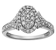 Affinity 14K Gold 3/8 cttw Diamond Oval ClusterHalo Ring - J381842