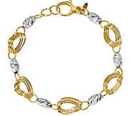 Italian Gold Two-Tone Bracelet 14K, 5.9g - J382042