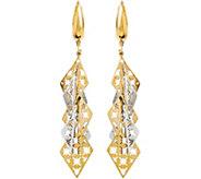 Italian Gold Two-Tone Star Dangle Leverback Earrings 14K, 3.3g - J382242