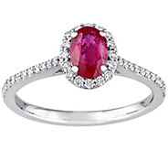 14K Gold 0.85 cttw Oval Ruby & Diamond Halo Ring - J382342