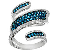 Pave Gemstone Sterling Silver Wrap Ring, 0.65 cttw - J145243