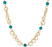 Vicenza Gold 36 Turquoise Bead Hammered Link Station Necklace, 14K - J270943