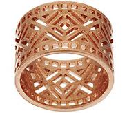 Bronze Art Deco Diamond Shaped Cut-out Band Ring by Bronzo Italia - J278743