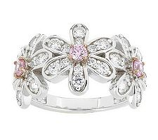 Epiphany Diamonique Color Flower Band Ring