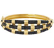 VicenzaSilver Sterling Large Gemstone Satin Weave Hinged Bangle - J285143