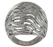 Vicenza Silver Sterling Textured & Satin Finish Domed Ring - J288343
