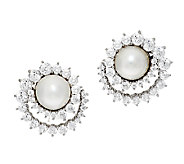 Judith Ripka Sterling Mabe Pearl 118 Facet Diamonique Button Earrings - J293243