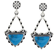 American West Triangular Shape Turquoise Sterling Drop Earrings - J294843