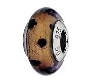 Prerogatives Brown with Black Dots Italian Murano Glass Bead - J300243