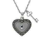 Suspicion Sterling Marcasite Lock & Key Pendantwith Chain - J304343