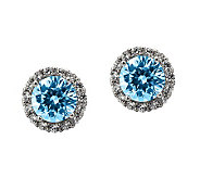 Diamonique 100-Facet Stud Earrings, Platinum Clad - J304543