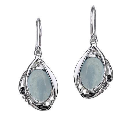 Hagit Gorali Sterling Milky Aquamarine Dangle Earrings