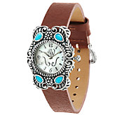 Sleeping Beauty Turquoise Leather Strap Watch by American West - J319643