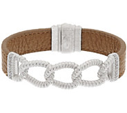 Judith Ripka Sterling Verona Curb Link & Beige Leather Bracelet - J320043