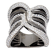 Vicenza Silver Sterling Wide Polished Crystal Band Ring - J320443