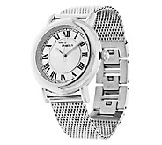 As Is Stainless Steel Round Case Mesh Strap Watch - J320643
