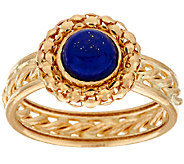 14K Gold Woven Border Lapis Ring with Rope Inlay Band - J322243