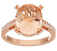 Diamonique Simulated Morganite Ring, Sterling or 14K Rose Clad - J323243
