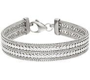 VicenzaSilver Sterling 8 Double Row Crystal Mesh Bracelet, 17.0g - J323843