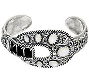 Sterling Silver Mother-of-Pearl & Onyx Buckle Cuff by American West - J324943