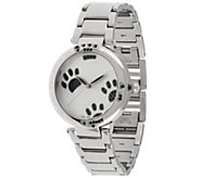As Is Stainless Steel Black Crystal Paw Print Round Case, Watch - J329043