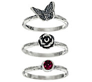 Sterling Silver Set of 3 Stack Rings by Or Paz - J330243