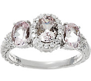 Judith Ripka Sterling Silver 1.70 cttw Morganite Three Stone Ring - J331043