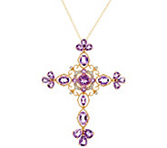Amethyst or London Blue Topaz Cross Pendant on 18 Chain, 14K Gold - J334643