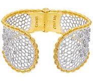 As Is Genesi 18k Clad White Topaz Graduated Hinged Cuff Bracelet, 42.3g - J335743