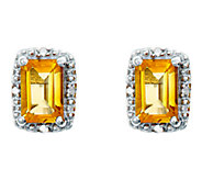 Sterling Emerald-Cut Stud Earrings with DiamondAccent - J336143
