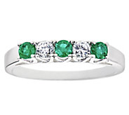 Emerald and Diamond Alternating Five-Stone BandRing, 14K - J336343