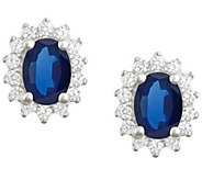 Premier 7x5mm Oval Sapphire & Diamond Earrings,14K - J338143