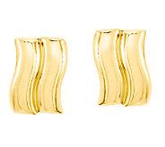 Double-Wave Post Earrings, 14K Gold - J338443