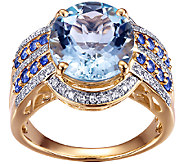 4.40cttw Aquamarine & Sapphire Ring w/Diamond Accents, 14K - J338543