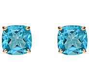 2.90cttw Blue Topaz Cushion Basket Stud Earring, 14K Gold - J340343