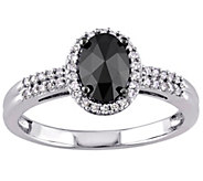 Oval Black Halo Diamond Ring, 14K Gold, 1cttw,by Affinity - J340743
