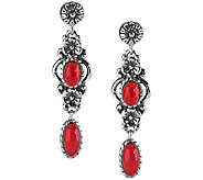 American West Sterling Red Coral Floral Drop Earrings - J341143