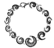 Sterling 7-1/4 Textured Swirl Design Braceletby Or Paz - J342843