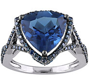 5.00 ct London Blue Topaz & 4/10 cttw Blue Diamond Ring, 14K - J343343