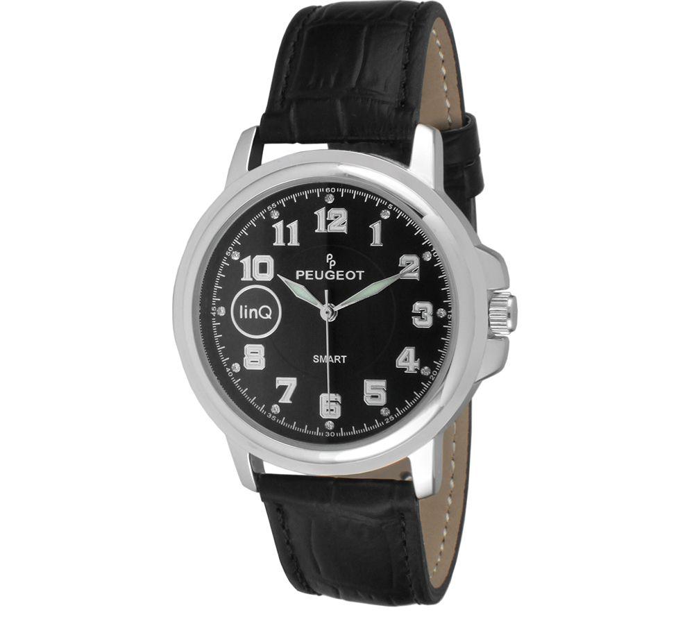 Peugeot Linq Silvetone Black Leather Strap Smartwatch