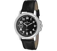 Peugeot linQ Silvetone Black Leather Strap Smartwatch - J344643