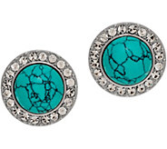 Grace Kelly Collection Simulated Turquoise Button Earrings - J346343