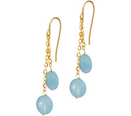 Vicenza Gold Milky Aqua Bead Drop Earrings, 14K - J347343