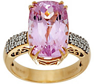 Elongated Cushion Kunzite & Diamond Ring 14K Gold 8.00 ct - J347943