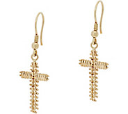 Imperial Gold Wheat Cross Earrings 14K Gold - J348743