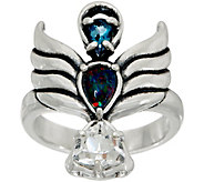 Carolyn Pollack Opal Triplet & Topaz Sterling Angel Ring - J349743