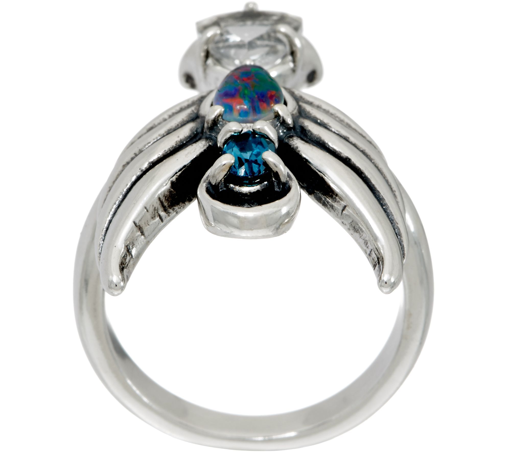 Carolyn Pollack Opal Triplet & Topaz Sterling Angel Ring Page 1